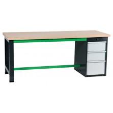 Etablis coffre 3 tiroirs gris et vert