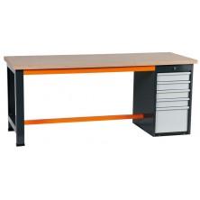 Etablis coffre 5 tiroirs gris et orange