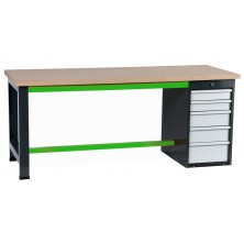 Etablis coffre 5 tiroirs gris et vert
