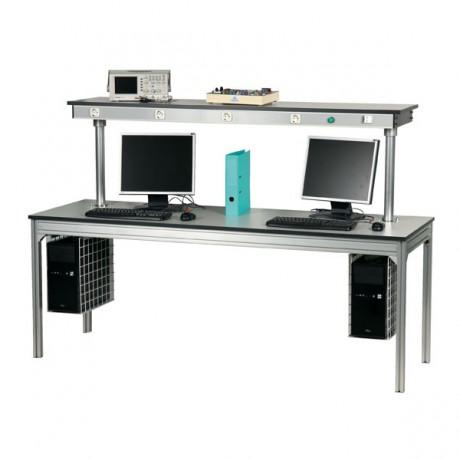 Poste informatique avec étagère haute