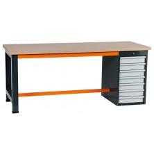 Etablis coffre 7 tiroirs gris et orange