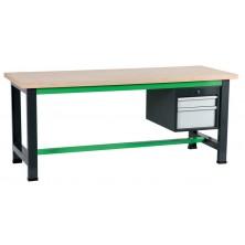 etabli gris et vert avec coffre suspendu 400 à 2 tiroirs
