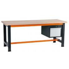 etabli gris et orange avec coffre suspendu 400 à 1 tiroir