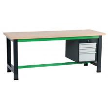 Etabli gris et vert avec coffre 490 à 3 tiroirs