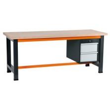Etabli gris et orange avec coffre 490 à 2 tiroirs