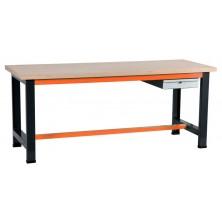 Etabli gris et orange avec coffre 100 à 1 tiroir