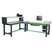 Etabli informatique en L gris et vert