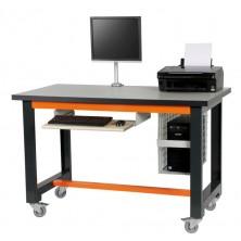 Etabli informatique à roulettes gris et orange